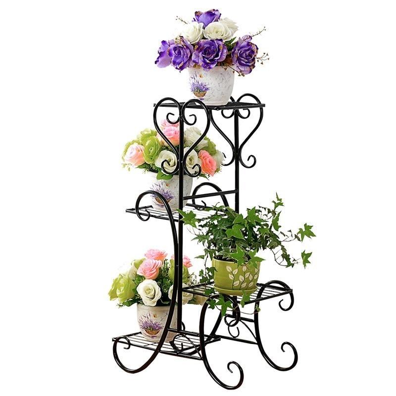 Wrought Iron Multilayer Flower Other Solid Wood Flowerpot Wearing Sitting Room Balcony Indoor Floor Type Multifunctional Showy S
