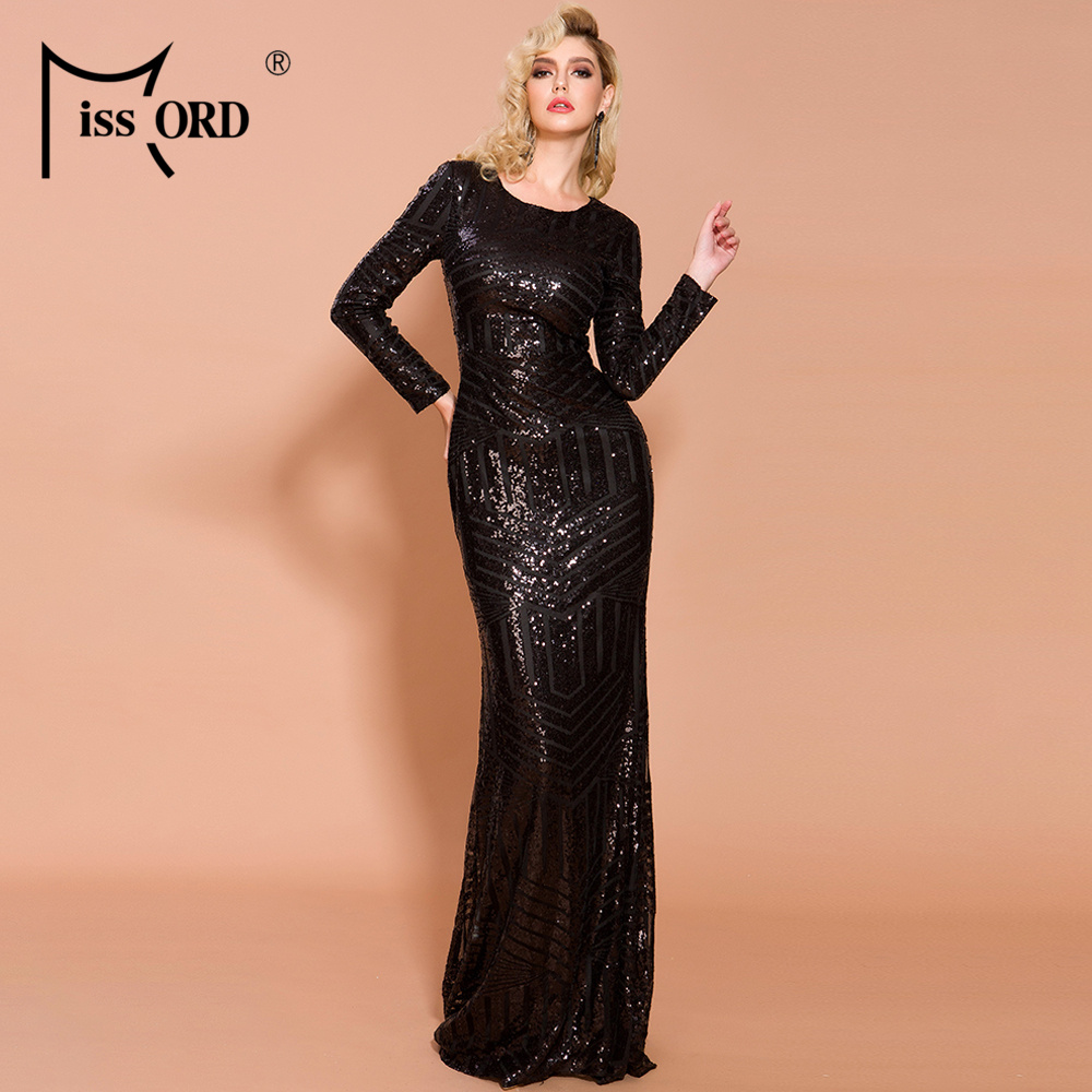 Missord 2020 Women Sexy O Neck Long Sleeve Sequin Dresses Female Maxi Elegant Dress  FT19746