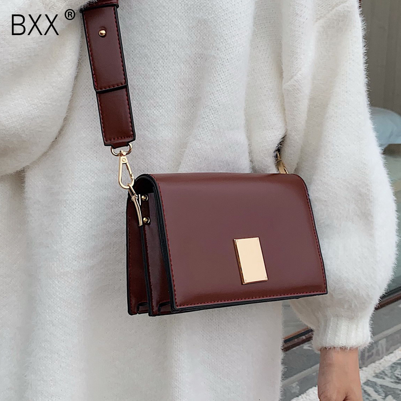 [BXX] Solid Color PU Leather Bucket Bags For Women 2020 Crossbody Shoulder Messenger Bag Female Travel Handbags And Purses HI822