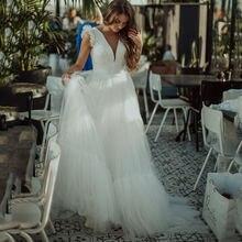 Восьмилое свадебное платье принцессы с v образным вырезом Тюлевое