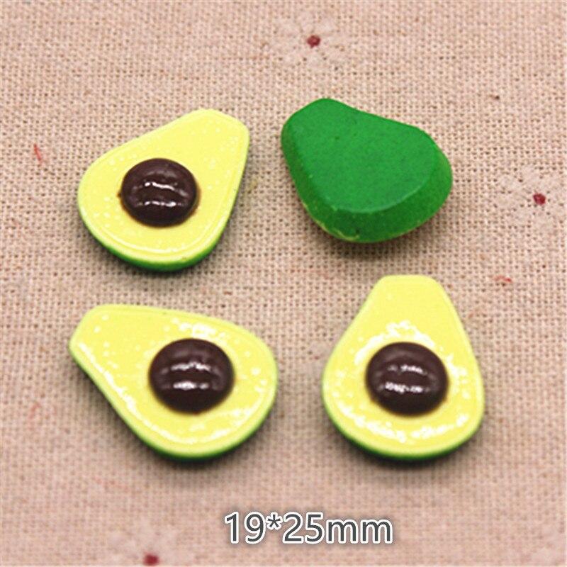 10pcs 19*25mm Cute Resin Simulation Fruit Avocado Flatback Cabochon Food Art DIY Hair Clip Decoration