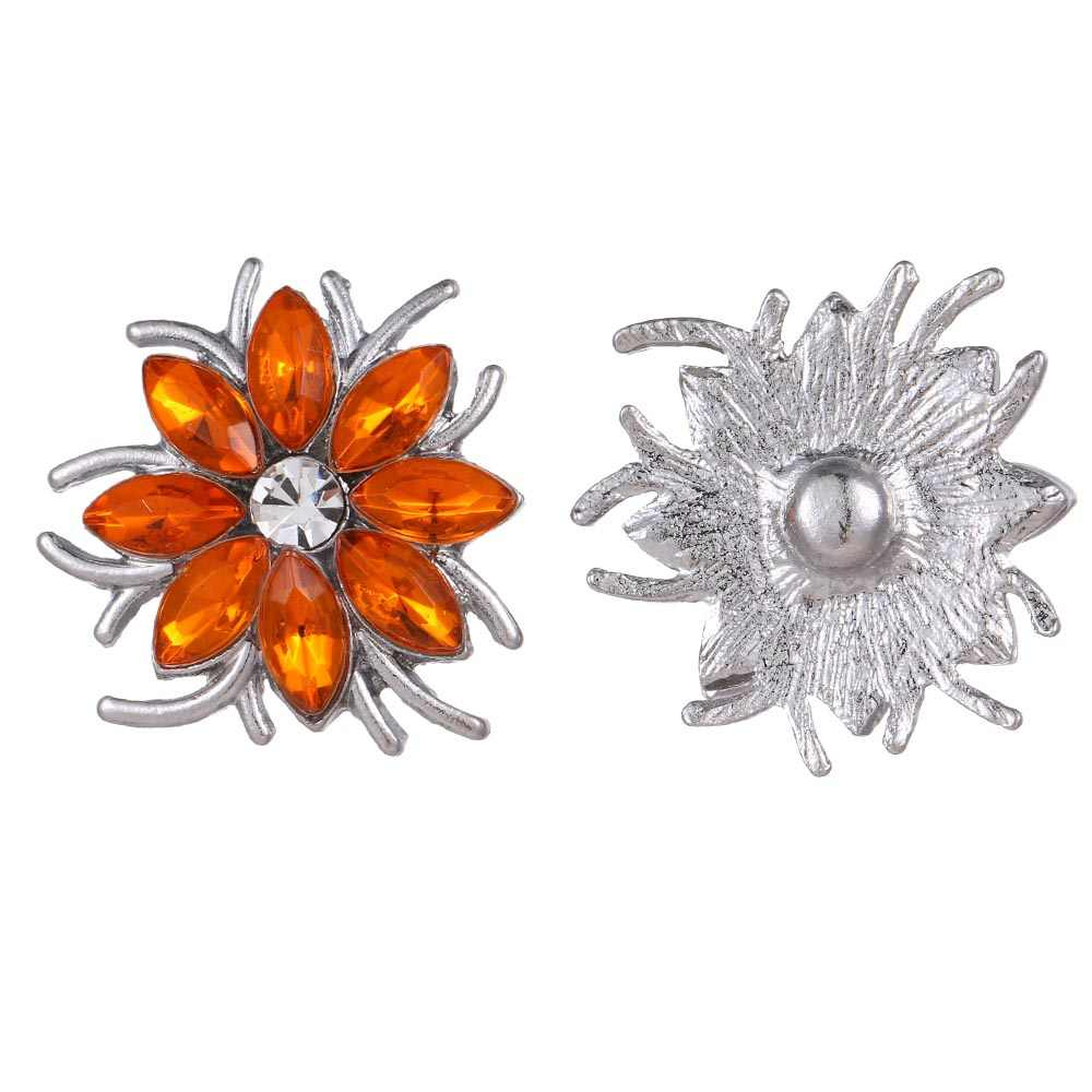5 יח'\חבילה חדש הצמד תכשיטי קריסטל פרח לב הצמד כפתור לנשים Fit 18mm 20mm הצמד כפתורי תכשיטים מצליפה שרשרת