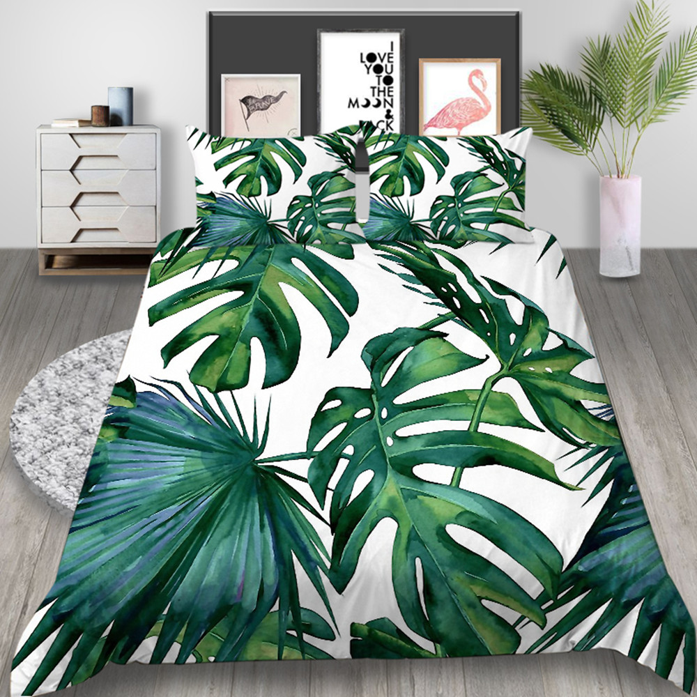 Thumbedding Palm Leaf Bedding Set King Size Fresh White Duvet Cover Nature Queen Twin Full Single Double Unique Design Bed Set