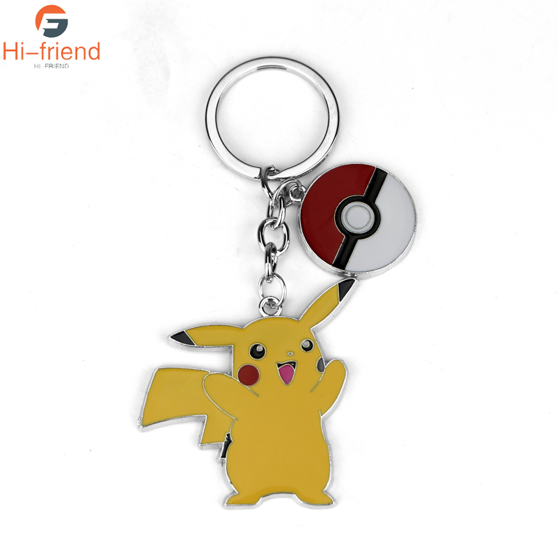 Movie Jewelry Pokemon Keychain Cute Pikachu Key Finder Colorful Enamel Cartoon Key Rings Holder for Women Men and Children image