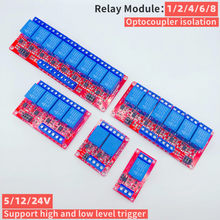 Modulo relè canale 1/2/4/6/8, 5V12V24V, con modulo relè di isolamento accoppiatore ottico uscita trigger alto/basso livello elettronico fai da te