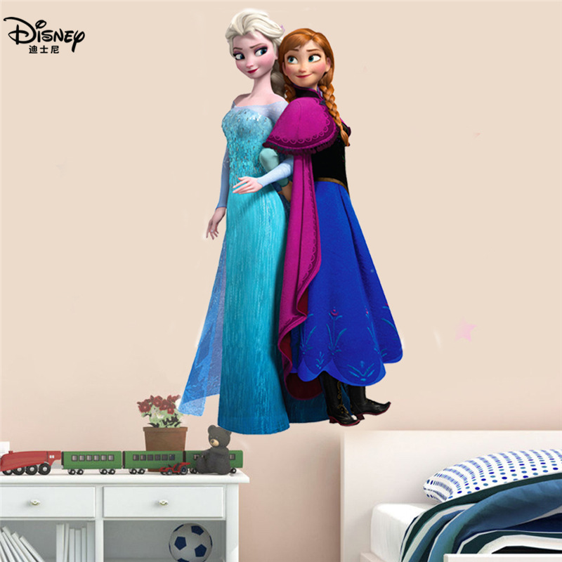 Disney Frozen Moana Sticker Toy Elsa Queen Anna Princess 3D Mural PVC Waterproof Self-adhesive Bedroom Decoration Wall Stickers
