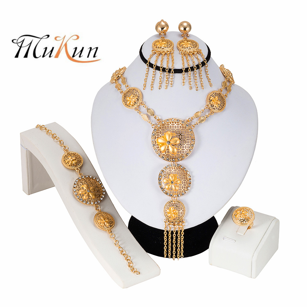 MUKUN 2019 Bridal African Jewelry Sets Fashion Gold Necklace Earrings Ring Zircon Bridesmaid Dubai for Women