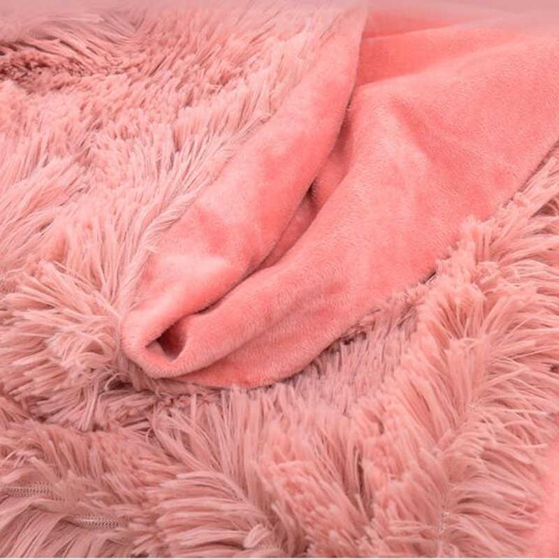 Süper yumuşak uzun tüylü bulanık kürk Faux kürk sıcak zarif rahat kabarık Sherpa atmak battaniye kış battaniye yatak