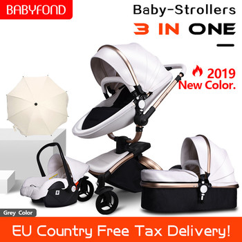 Free Ship Leather 3 in 1 Baby Stroller Two Way Suspension 2 in 1 Stroller EU Safety Car Seat Newborn Bassinet Send Umbrella
