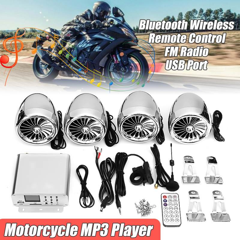 1000W LCD Display 4 PSC Motorbike Bluetooth Speakers+Amplifier System Handlebar Mount Remote Control For Motorcycle/ATV