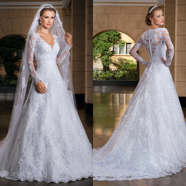 Romantic Rushed New Custom Made Vestido De Noiva 2016 A-line See Through Back Long Sleeve Wedding Dresses Vestidos Noivas Sexy