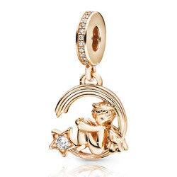 2019 New winter 925 Sterling Silver Beads Shine Angel & Shooting Star Charm fit Original pandora Bracelets Women DIY Jewelry