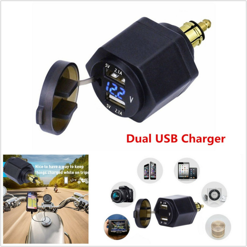 Waterproof Dual USB Charger Power Adapter LED Voltmeter DIN Plug Socket For BMW Triumph Hella Motorcycle image