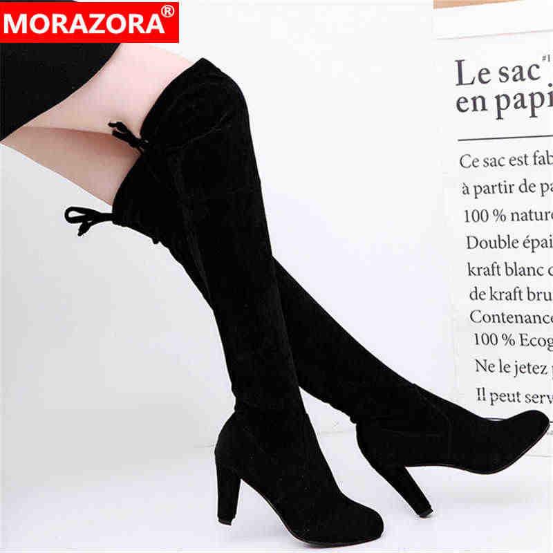 MORAZORA 2020 yeni varış kadın diz çizmeler üzerinde akın katı renkler Streç çizmeler sonbahar kış yüksek topuklu ayakkabılar bayanlar