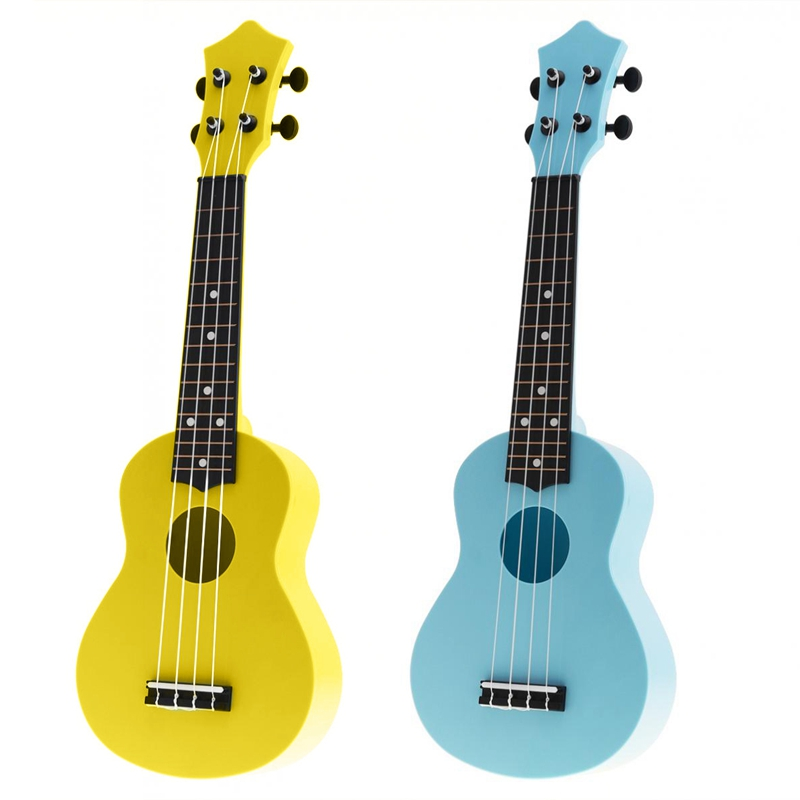 2Pcs 21 Inch Acoustic Ukulele Uke 4 Strings Hawaii Guitar Guitar Instrument For Kids And Music Beginner - Blue & Yellow
