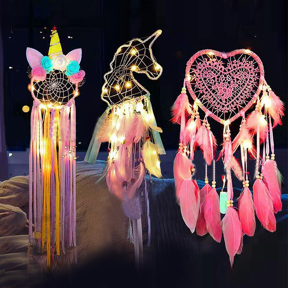 Hot Sale Catcher Dream Night Light Unicorn Aerial Pendant Party Colorful Light Baby Photography Props Kids Girl Room Decoration
