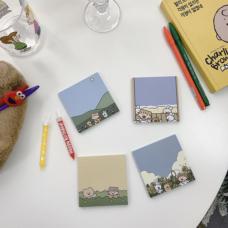 SIXONE 60 Sheets Forest Scenery Girl Cute Rabbit Portable Memo Pad Student Diary Leave Message Paper Kawaii School Stationery