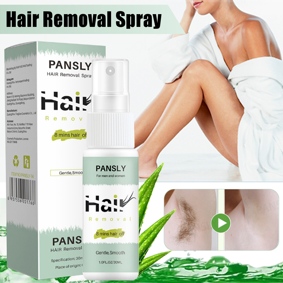 Pansly 8 Mins Off Hair Removal Cream Face Body Pubic Hair Depilatory Beard Bikini Legs Armpit Painless Hair Removal Spray