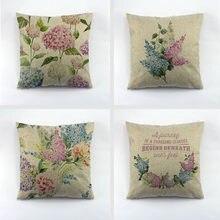 Printemps fleur motif imprimé jeter Cuchion couverture européenne fleur conception Liene taie d'oreiller pour siège de voiture