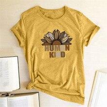 Ayçiçeği insan tür baskı t-shirt kadın kıyafetleri yaz kadın tişörtleri grafik T Shirt kadın düz Camisetas Mujer Verano