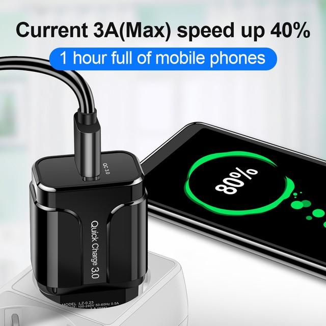 3A Carica Rapida 3.0 USB del Caricatore Della Parete di UE Adattatore Del Caricatore Del Telefono Mobile per il iPhone X MAX 7 8 QC3.0 Veloce di ricarica per Samsung Xiaomi 2