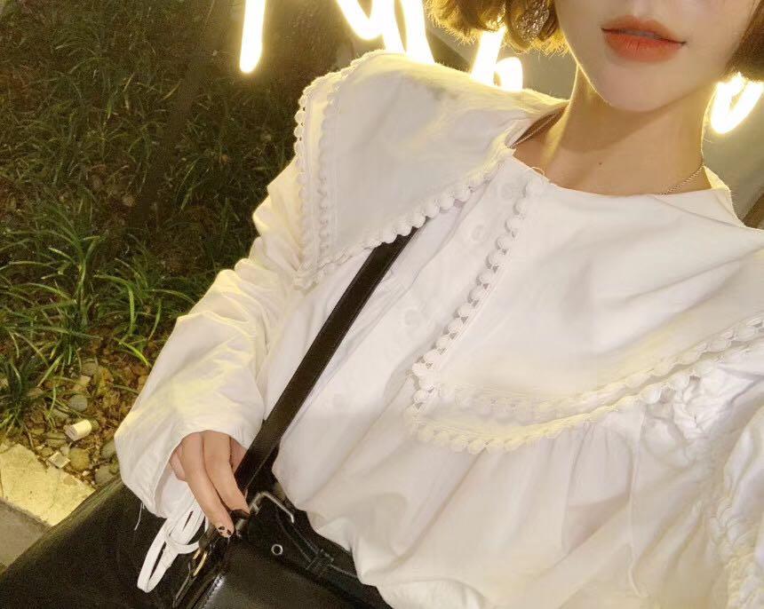 He7a2d1d045fd41e790c6b70946a593c9A - Spring / Autumn Pilgrim Collar Long Sleeves Thicken Drawstrings Loose Blouse