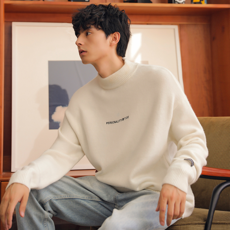 2019 New Japanese Winter Cotton Large Size Simple Loose Version Men's High Collar Long Sleeve Knit Casual Sweater