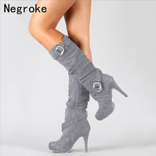 Hot Sale Autumn Winter Knee High Boots Women Fashion Thin High Heels Woman Suede Leather Shoes Winter Large Size 43 yeerfa hot sale new fashion soft pu leather high heels knee high boots buckle boats women motorcycle boots autumn winter shoes