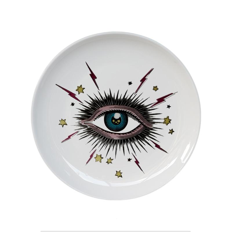 Grande Olho Céu Estrelado Decorativo Placa Cerâmica Prato Redondo Cabeça Gato Prato Artístico Céu Olho Colorido Prato de Armazenamento De Jóias de Moda