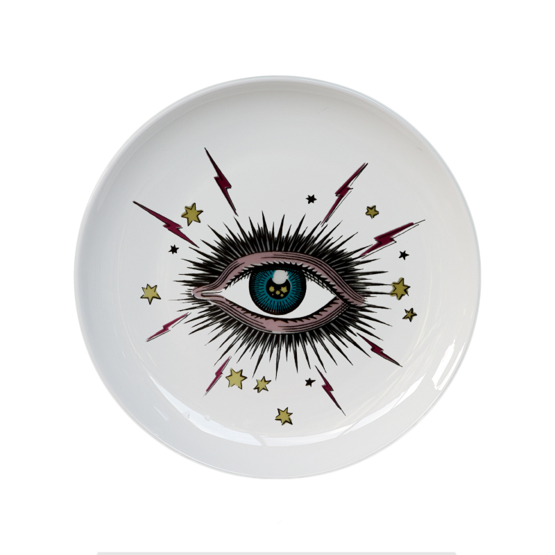 Big Eye Starry Sky Decorative Plate Ceramic Round Dish Cat Head Jewelry Storage Dish Artistic Sky Eye Colorful Plate Fashion