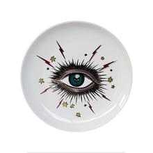 Big Eye Starry Sky Decorative Plate Ceramic Round Dish Cat Head Jewelry Storage Artistic Colorful Fashion