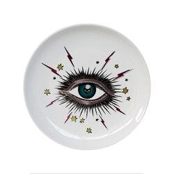 Grande olho céu estrelado placa decorativa cerâmica redonda prato gato cabeça de armazenamento jóias prato artístico céu olho colorido placa moda