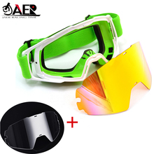 JAER Motocross Goggles with Extra Clear Lens ATV Casque Gafas Off Road Motorcycle Glasses Sunglasses for Helmet Dirt Bike motorcycle atv riding scooter driving flying protective frame clear lens portable vintage helmet goggles glasses for 2009 buell xb12r