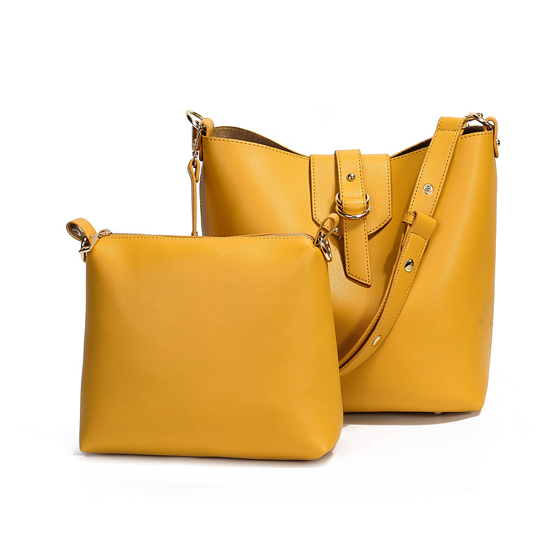 Women Sling Bag  Pu Leather Bucket Bag Yellow Tote Sets For Handbags Sac Main High Quality Leather Lady Satchel Han Lash Package