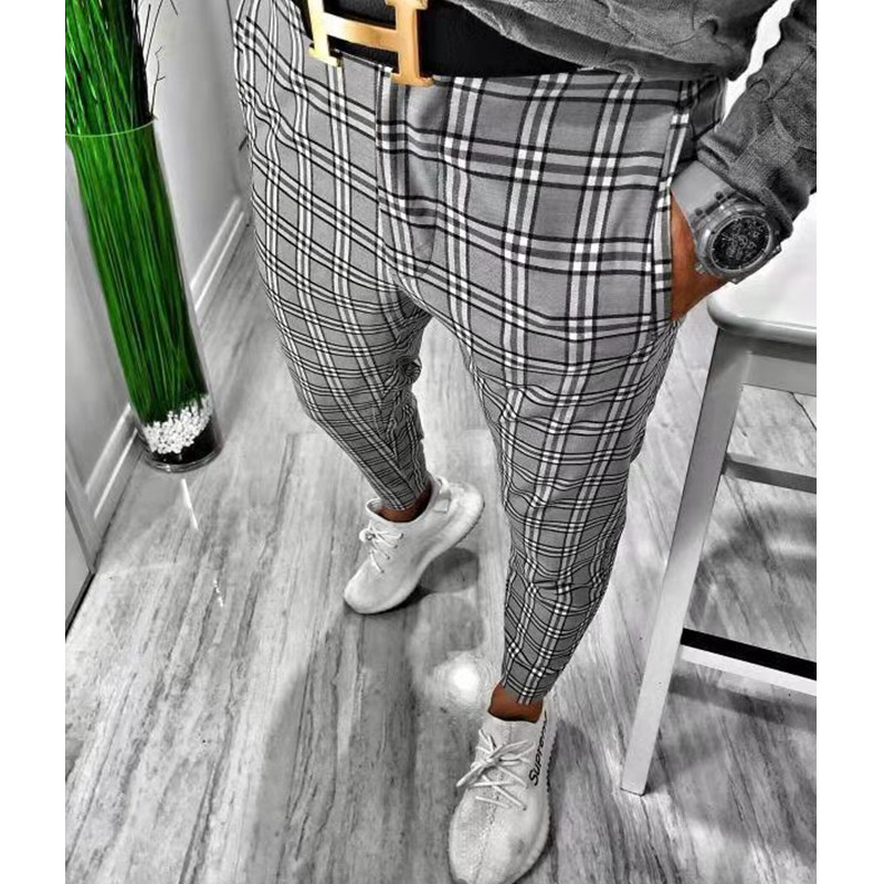 2020 Men Vintage Plaid Suit Pants Formal Dress Pant Business Casual Slim Pantalon Classic Check Suit Trousers Wedding Party