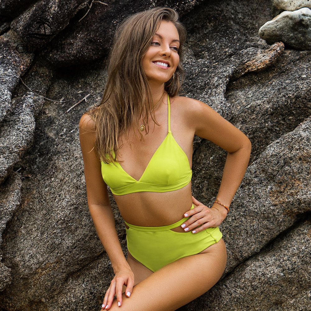 CUPSHE Lime Green High-Waisted Bikini Sets Women Sexy Cut Out Swimsuits Two Pieces Swimwear 2019 Beach Bathing Suits Biquinis