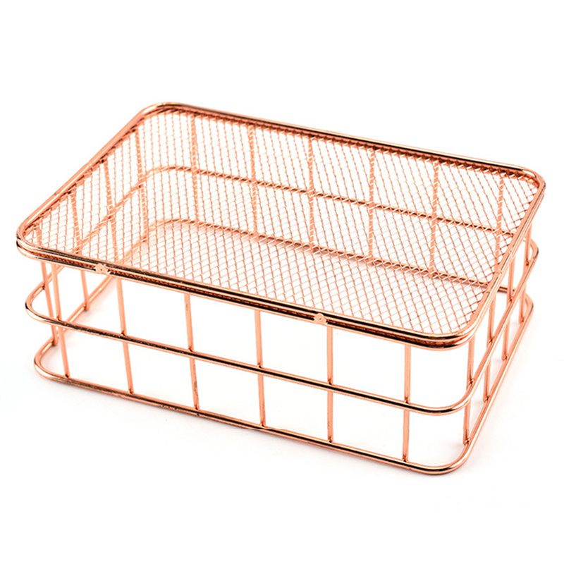 2019 Wrought Iron Storage Basket Cosmetic Organizer Rose Gold Makeup Brushes Metal Wire Holder Baskets Toiletries Collection