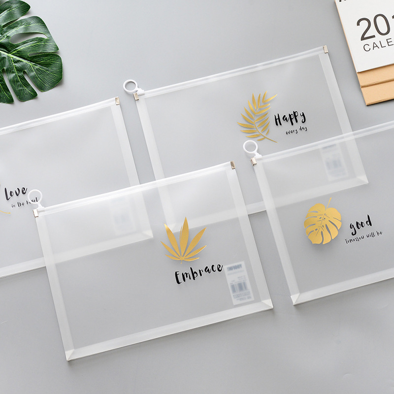 Creative Simple A4 File Zipper Folder PVC Document Bag School And Office Stationery Ticket Storage Bag Large Capacity Pen Bag