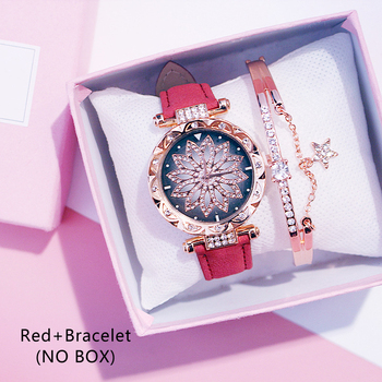 Casual Women Romantic Starry Sky Wrist Watch bracelet Leather Rhinestone Designer Ladies Clock Simple Dress Gfit Montre Femm - Red And Bracelet