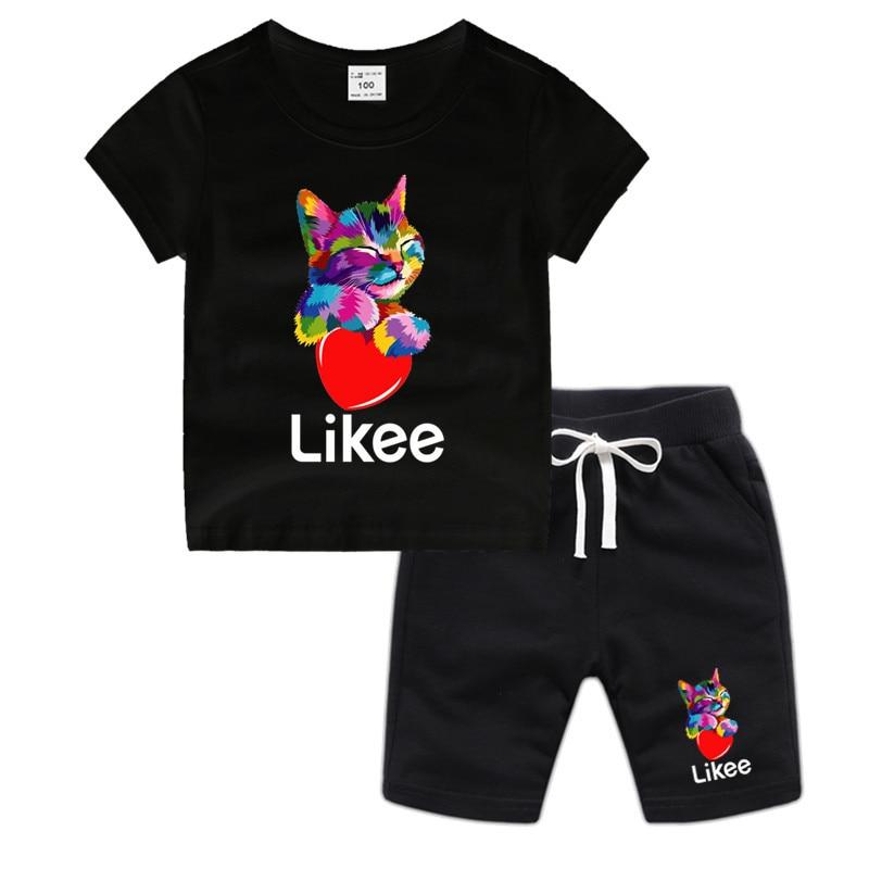 Boy And Girl Likee Cotton T Shirt Kid's Animal Shirt Set Children Cartoon Cat Toddler Tshirt Luxury Top
