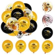 18 30 40 50 60 15 aniversário Balão pçs/set Ouro Negro Confetti Decoração Do Partido Suprimentos de Aniversário Globos Balões De Látex para Adultos