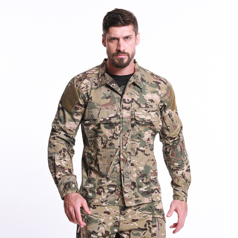2020 New Top Quality Men's Summer Military Uniform Tactical Camouflage Long Sleeve Shirt Mens Outdoor Work Clothes Combat Suit