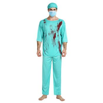 Straszne lekarz strój pielęgniarki z fałszywe krew na Halloween dla dorosłych Party mężczyźni kobiety chirurg cosplay kostiumy tanie i dobre opinie HUIHONSHE Duch POLIESTER