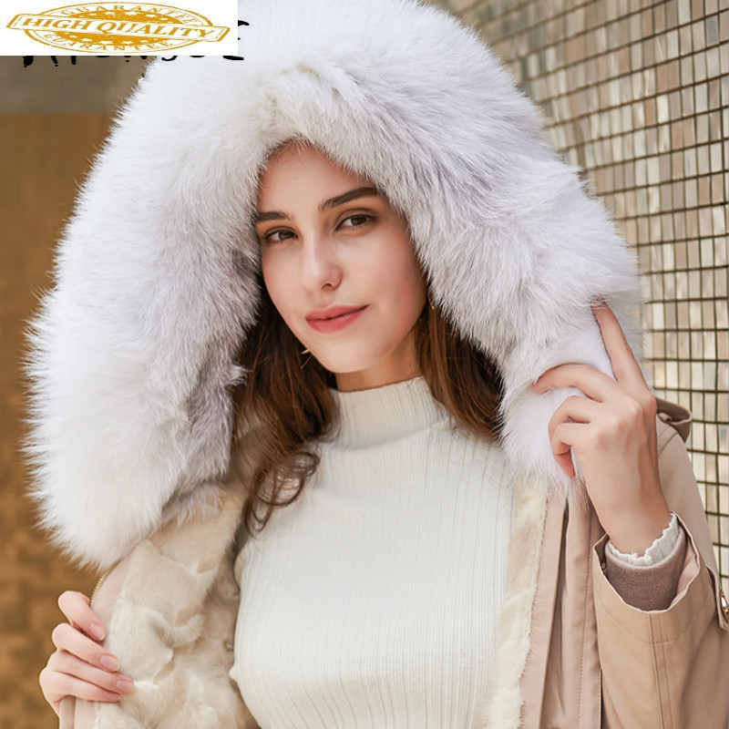 Real Fur Coat Women Winter Coat Women Real Mink Fur Coat Fox Fur Collar Warm Parka Women Manteau Femme TD-607388 YY1569