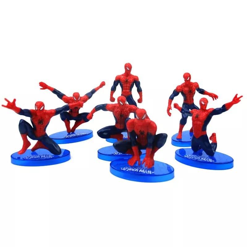 7 Pcs/Lot Boy Birthday Cake Topper 7pcs Spider Man PVC Doll Toy Topper Kids Boy Birthday Gift Spiderman Toys DIY Cake Decoration