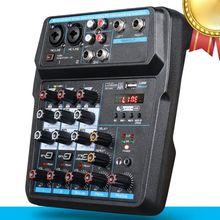 Draagbare 4 Kanaals Digitale Audio Mixer Console Met Bluetooth Usb 48V Phantom Power Voor Dj Pc Opname Sound Mixing apparaat