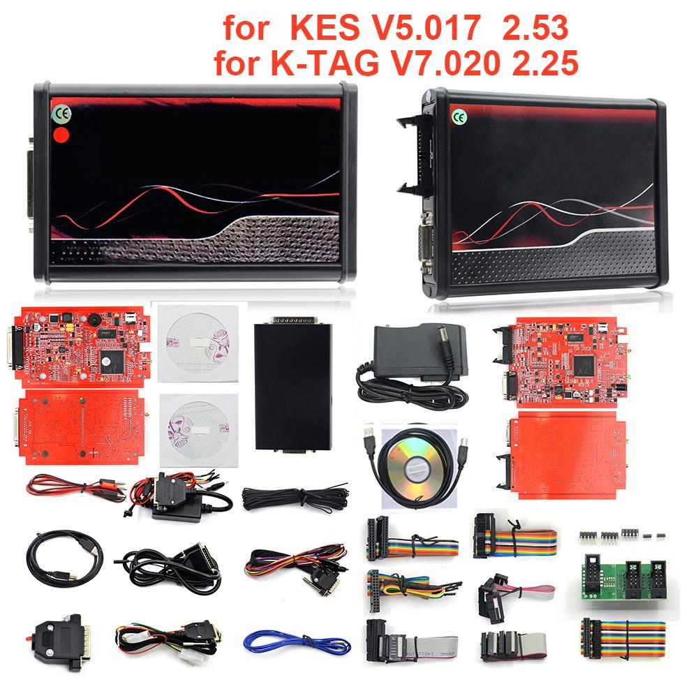Программатор KESS V5.017, ECU OBD2 автомобиль/грузовик, 4 светодиодный, V2.47/V2.53 ECM Titanium KTAG V7.020