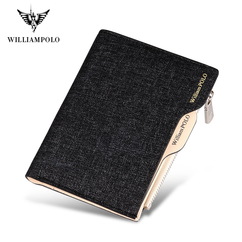 WILLIAMPOLO New Arrival Jean Fabric Men Wallet Cash Holder Removable Card Case For Driving License Coin Purse #181370