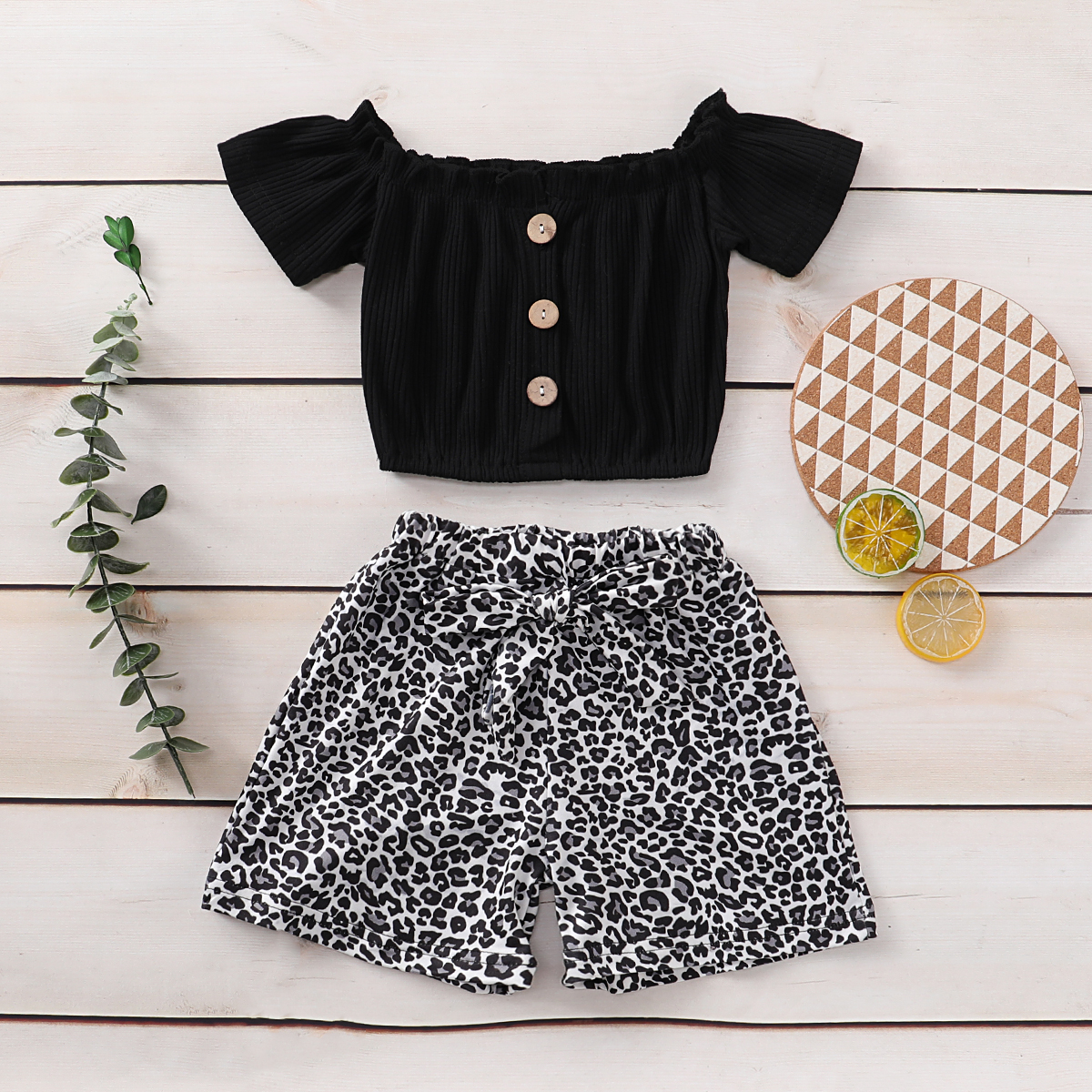 Pudcoco Toddler Baby Girl Clothes Solid Color Off Shoudler Ruffle T-Shirt Tops Leopard Print Short Pants 2Pcs Outfits Clothes