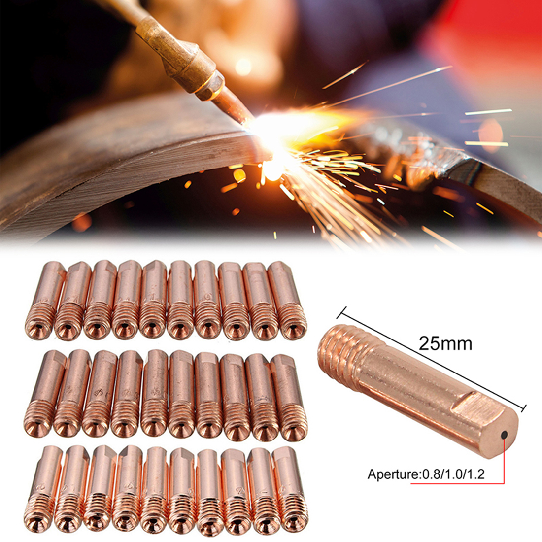 10pcs MB-15AK M6*25mm MIG/MAG Welding Torch Contact Tip Gas Nozzle 0.8/1.0/1.2mm Mig Welding  Accessories Torch Contact Tip